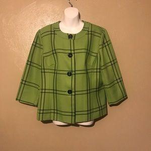 Kim Rogers green plaid blazer size XL, polyester